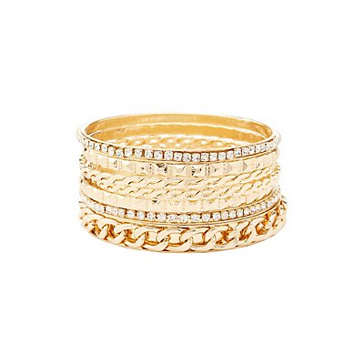 Chainlink & Embellished Bangle Bracelets - 7 Pack