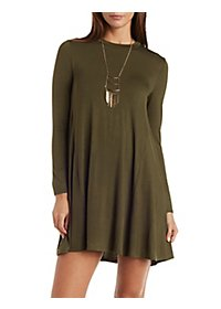 Long Sleeve Trapeze Shift Dress