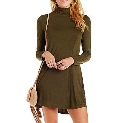 Turtleneck Trapeze Shift Dress