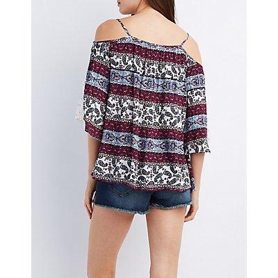 Crochet Sleeve Cold Shoulder Top