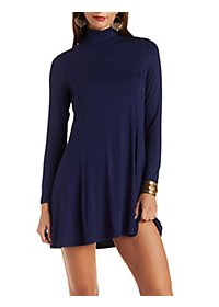 Turtleneck Trapeze Shift Dress