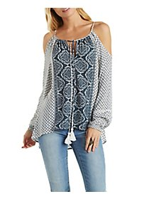 Tie Front Cold Shoulder Peasant Top