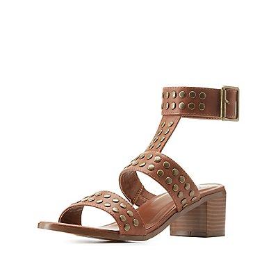 Studded Chunky Heel Sandals