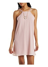 Bib Neck Strappy Shift Dress