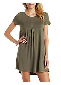 Center Pleat Shift Dress
