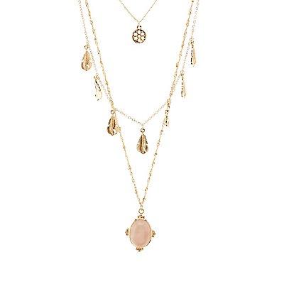 Gemstone & Feathers Layered Necklace