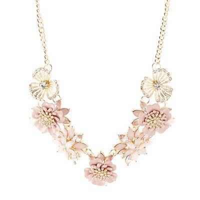 Faceted Stone & Enamel Flower Necklace