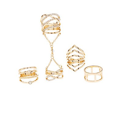 Caged Rhinestone & Chain Rings - 4 Pack
