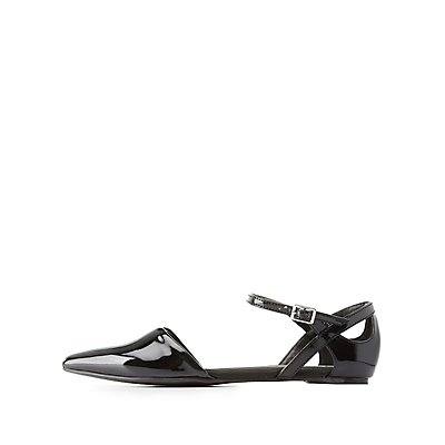Cut-Out Two-Piece Pointed Toe Flats