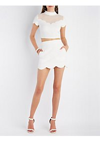 Milky Way Scalloped Crop Top & Skirt