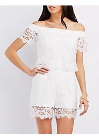 Off-the-Shoulder Layered Lace Romper