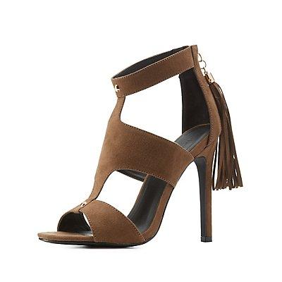 Caged Fringe Dress Sandals