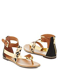 Report Leopard Print Strappy Sandals