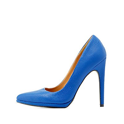 Qupid Snakeskin-Textured Pointed Toe Pumps