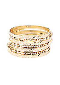Etched & Embellished Bangle Bracelets - 7 Pack