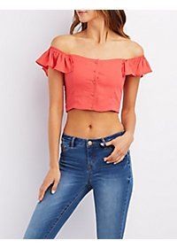 Ruffled Off-the-Shoulder Crop Top