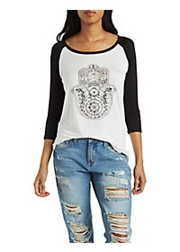 Sparkle Hamsa Graphic Baseball Tee
