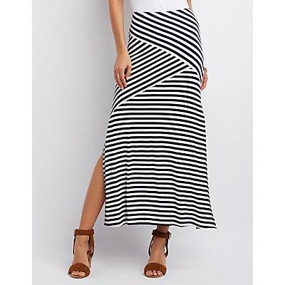 Slit Striped Maxi Skirt