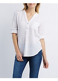 Button-Up Woven Pocket Top