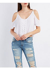 Button-Up Cold Shoulder Crochet Top