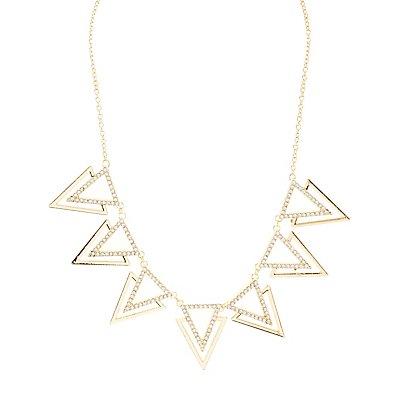 Rhinestone Triangles Statement Necklace