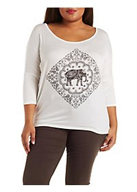 Plus Size Dolman Sleeve Graphic Tee