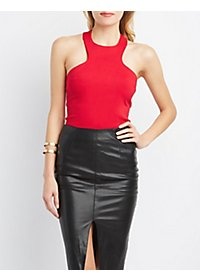 Racer Front Sleeveless Bodysuit