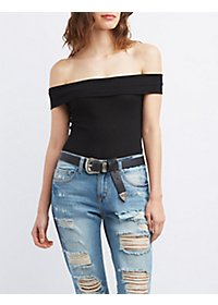 Ribbed Off-the-Shoulder Bodysuit
