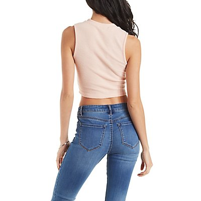 Lace-Up Sleeveless Crop Top