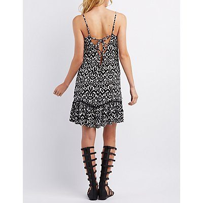 Ruffle Hem Lace-Up Shift Dress