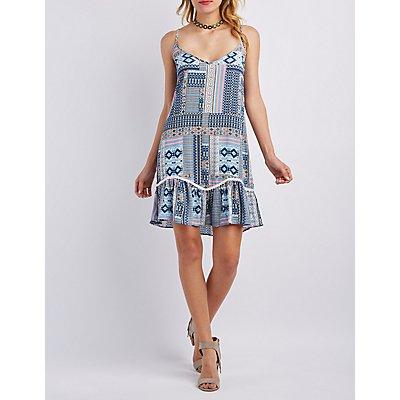 Ruffle Hem Lace-Up Shift Dress