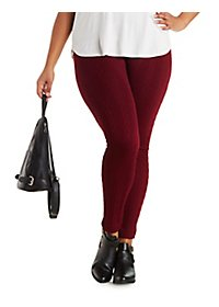 Plus Size Fleece-Lined Cable Knit Leggings