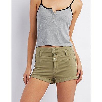 "Refuge ""Hi-Waist Shortie"" Denim Shorts"