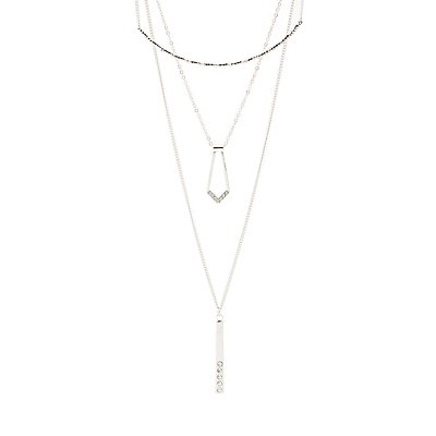 Rhinestone Geometric Bar Layered Necklace