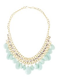 Dangling Faceted Stones Bib Neckalce