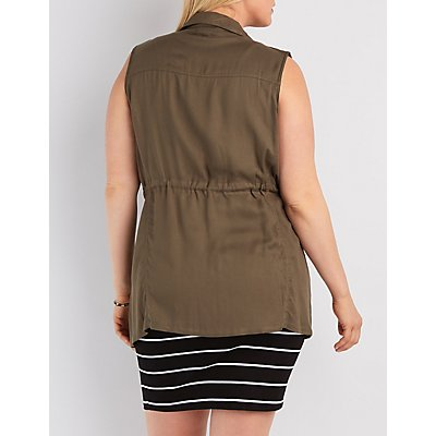 Plus Size Zip-Up Rayon Twill Vest
