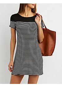 Striped Trapeze Shift Dress