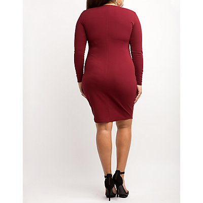 Plus Size Textured Sweetheart Bodycon Dress