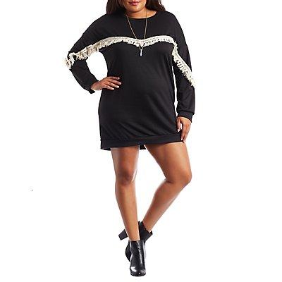 Plus Size Crochet & Fringe Sweatshirt Dress