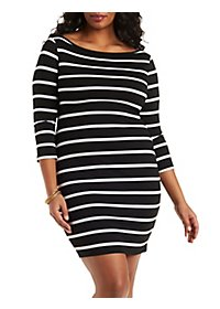 Plus Size Boat Neck Bodycon Dress