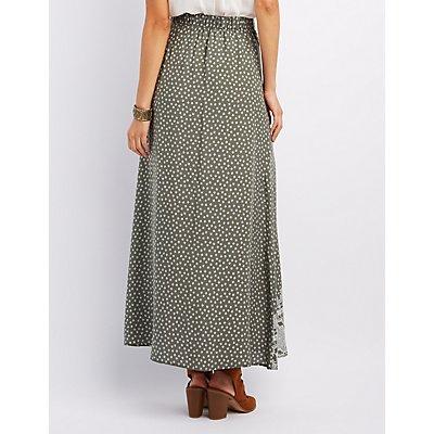 Floral Print Button-Up Maxi Skirt