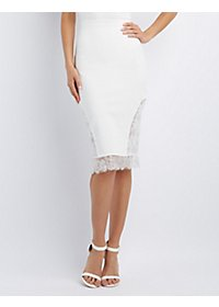 Eyelash Lace-Trim Midi Pencil Skirt