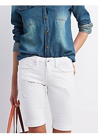 Dollhouse Distressed Denim Bermuda Shorts