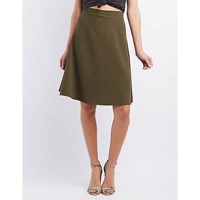 Textured Midi Skater Skirt