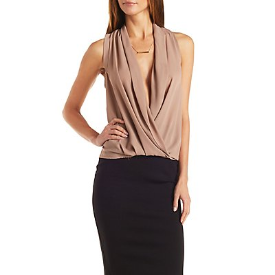 Plunging Overlap Blouse
