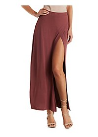 High Slit Wrapped Maxi Skirt