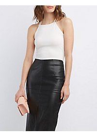 Ribbed Strappy-Back Crop Top