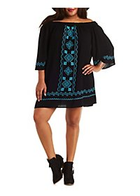 Plus Size Off-the-Shoulder Embroidered Shift Dress