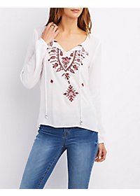 Embroidered Tie Neck Peasant Blouse