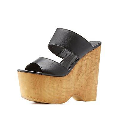 Wooden Platform Wedge Sandals